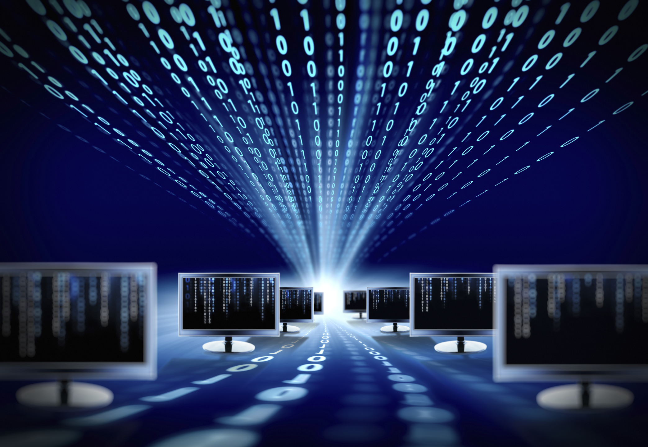 binary code and computer monitors
